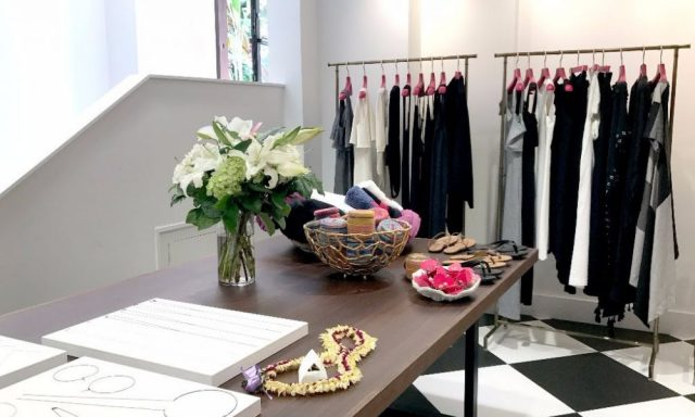 Inside the simple and elegant shop, cozy space